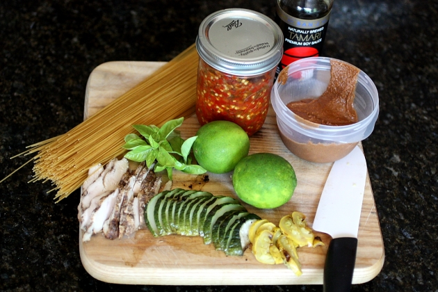 >Simple Summer Meals: Asian-inspired Noodles with Grilled Chicken in Spicy Peanut Sauce