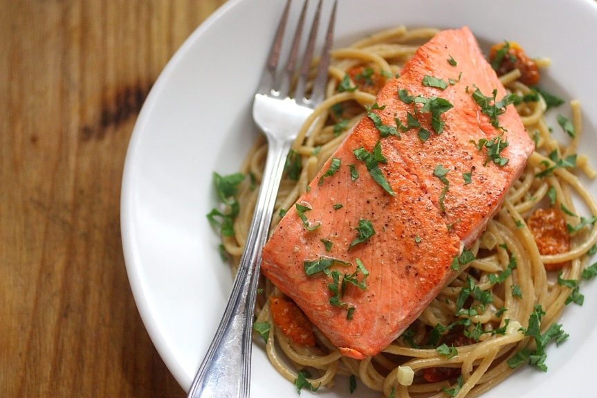 Sockeye Salmon with Whole Wheat Pasta