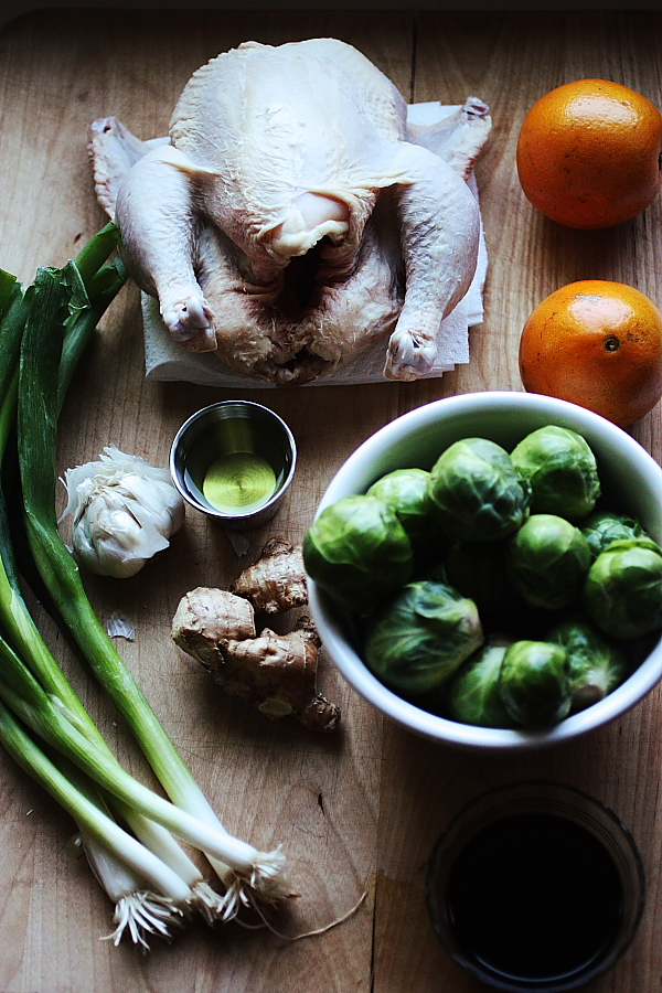 Can You Hear Me Now? {Garlic Ginger Chicken with Brussels Sprouts}
